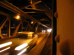 Cars coming down the pipe, High Level Bridge, Jan 2007